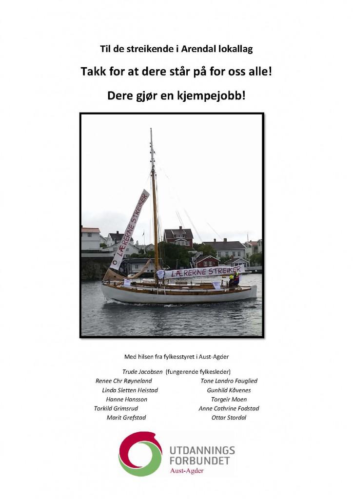 Til de streikende i Arendal lokallag